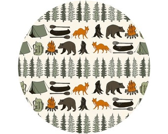 Camping in the Wild Crib Sheets, Changing Pad Covers, Indie Fabric Printed Just for You