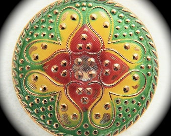 4 Czech Glass Buttons on SALE, 32mm 1-1/4 inch - Hearts All Over Paisley Tapestry Buttons - Red Yellow Green Glass Buttons - CLEARANCE