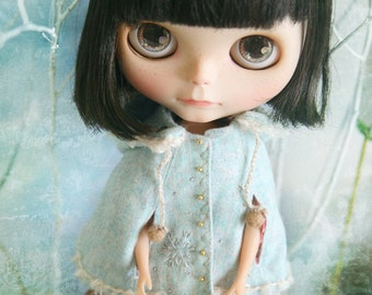 jiajiadoll light blue snow flower hooded coats cape 2 WAY-for momoko or misaki or Blythe