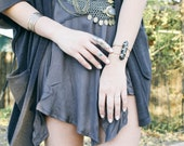Snowflake Obsidian Axis Cuff // spotted, stone, point, wand, wire cuff, brass, silver