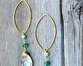 Green Amethyst & Green Emerald Earrings Gold
