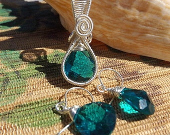Teal blue green faceted sparkly teardrop glass wire wrapped pendant earring set