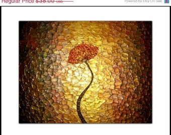 PRINT With MATTE of Original Gold Poppy Painting By Dan Lafferty Sale 22% Off