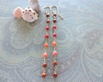 Oceanside earrings - long 14k gold fill wire wrapped gemstone dangles - wood, red coral, peach coral - beach jewelry