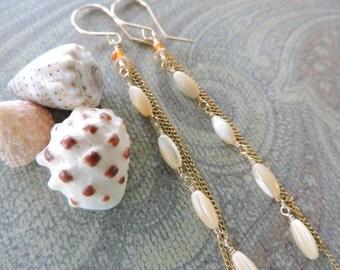 Waterfall - mother of pearl long 14k gold fill wired wrapped earrings -  carnelian quartz, shell -bohemian beach jewelry