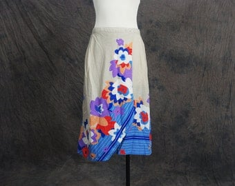 CLEARANCE vintage 70s Wrap Skirt - 1970s Khaki Tropical Foral Pencil Skirt Sz M