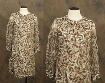 Clearance SALE vintage 60s Dress - 1960s Mod Psychedelic Zebra Swill Print Chiffon Dress Sz M