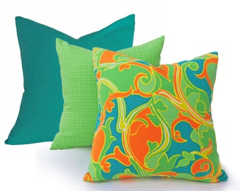 Colorful Retro  Pillow Cover, Psychedelic Orange Green Teal Pillow, Unique, Eclectic, Girls Bedroom Decor, 18x18, SALE