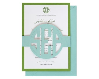 Circle Monogram Wedding Invitations -  letters, initials, round cutout names