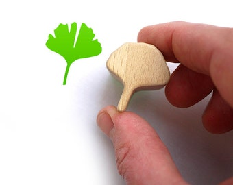 Ginkgo Rubber Stamp, Lucky Charm on Carved Wooden Block