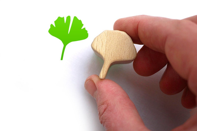 Ginkgo Rubber Stamp, Lucky Charm on Carved Wood Block