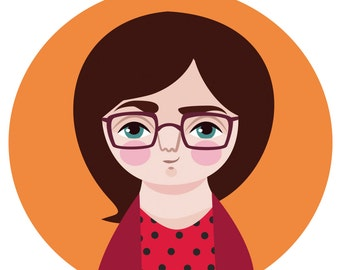 Custom avatar, personalized digital illustration portrait for blog, website, greeting cards