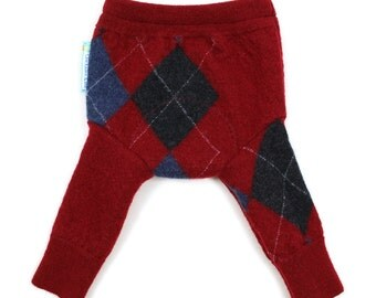 "WOOL LONGIES - Wool Diaper Cover - ""Preppy Pants"" - X-Small Newborn"