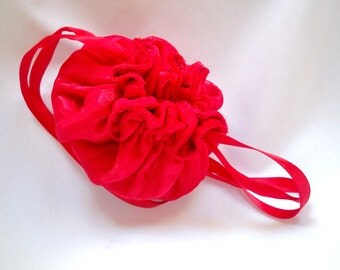 Bright Red Jewelry Bag, Roses Design, Small Drawstring Bag, Flower Girl Pouch, Bridesmaids Bag