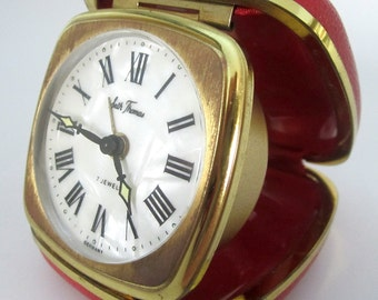 Vintage SETH THOMAS Travel Alarm Clock Germany Gold Red Compact Case Fold 7 Jewels