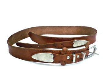 French Vintage Tan Leather Belt