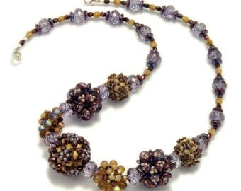 Jewlery Sample, Embellished Plum Blossom Beaded Bead Necklace - Victoria