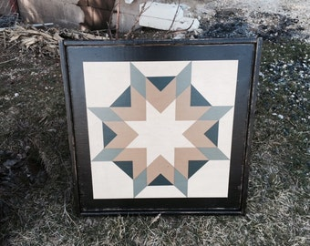 PriMiTiVe Hand-Painted Barn Quilt, Small Frame 2' x 2' - Harvest Star Pattern (Blue Version)