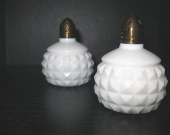 Vintage Diamond Cut Milk Glass Salt and Pepper Shakers