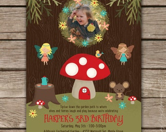 Enchanted Fairy Woodland - Custom DIGITAL Birthday Party Invitation