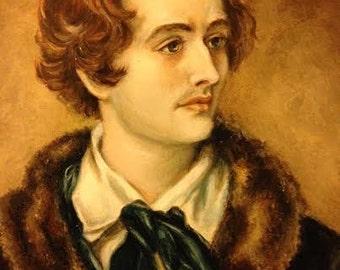 John Keats Oil Portrait Painting in an Antique Victorian Frame