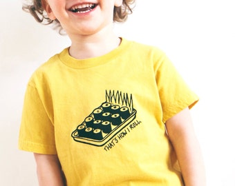 Organic toddler tshirt sushi That's How I Roll screen printed 2T 4T 6T
