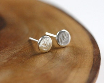 Tiny studs - posts - earrings - sterling silver - leaves - stamped