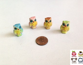 Miniature Owl Figurine, miniature ceramic owl, ceramic owl figure, miniature animal, mini animal, tiny, little owl, decoration, green