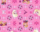 Disney's Frozen Elsa and Anna Glitter Patch Pink.  100% cotton fabric from Springs Creative.