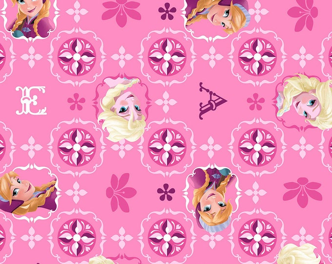 Children's Fabric from Disney's Frozen Elsa and Anna Glitter Patch Pink.  100% cotton fabric by Springs Creative.