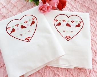 OOAK Vintage NOS Pillowcases Heart Embroidery, Red Pillowcases, One of a Kind, Bird Pillowcases, Love Pillowcases