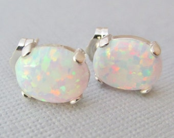 Opal Earrings, Opal Stud Earrings, Sterling Silver Opal Earrings, White Opal Earrings, Opal Jewelry, Gifts For Her, White Opal Jewelry