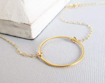 Gold Circle Necklace, Karma Necklace, Simple Jewelry, Large Circle Necklace, Eternity Necklace, Infinity Necklace, Bridesmaid Gift