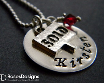 Personalized Realtor Necklace, Real Estate Necklace, Sold Sign, Personalized Gifts, by RosesDesigns