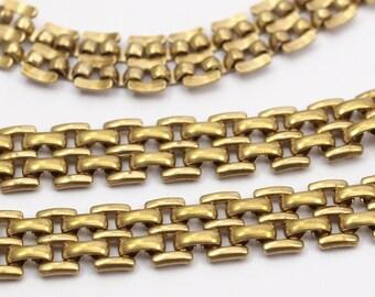Brass Link Chain, 1M Raw Brass Double Strand Chain (9.3mm)  ( Z078 )