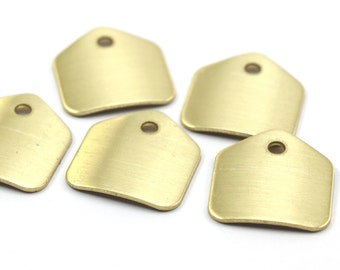 Brass Stamping Blank,  20 Raw Brass Stamping Blank Tags  (16x15x0.60mm)   D143--Y345