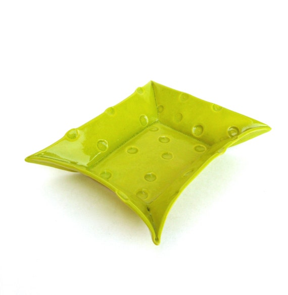 happy hand built porcelain dot tray  ... chartreuse