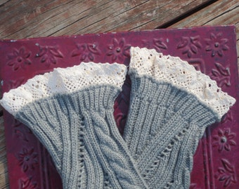SALE... and ready to ship! Ladies Grey lace boot cuffs.  Boot Toppers. Boot sock.