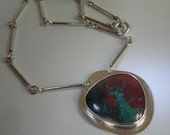 Red Green Chrysocolla Sonora Sunrise  silver pendant hand crafted chain FREE SHIPPING