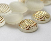 Vintage Crystal Gold Lucite Etched Striped Frosted Matte Cabs Cabochons 15mm (10)