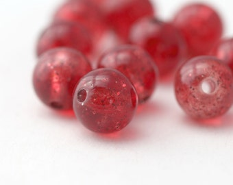 Round Red Glitter Confetti Acrylic Beads 13.5mm (12)