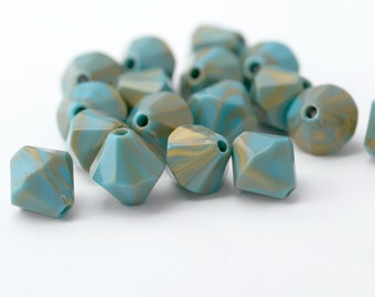 Turquoise Gold Wash Faceted Acrylic Bicone Beads 15mm (16)