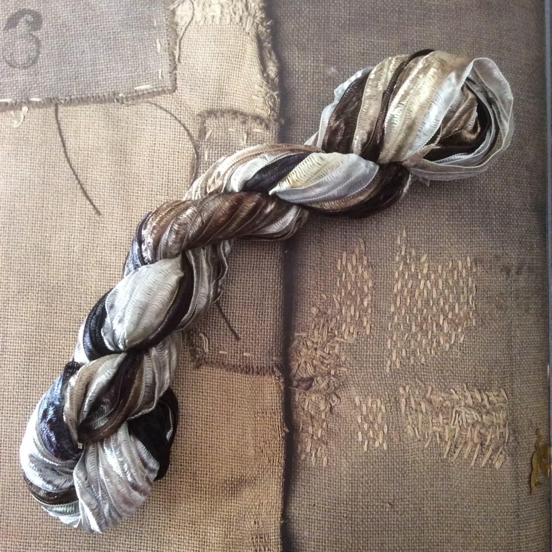 Nylon Knitting Ribbon : Hand dyed nylon ribbon for knitting crochet weaving by