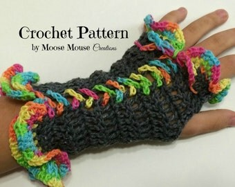 CROCHET PATTERN Fingerless Glove No.3: Laced-Up and Ruffled Girls Armwarmers Wristwarmers Instant Download PDF