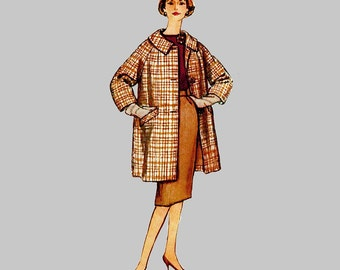 1959 Coat and Walking Suit Pattern Simplicity 3160 Half size slenderette Slim skirt Back pleat Size 14 1/2 Bust 35 Vintage