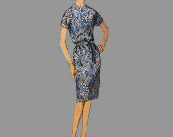 1963 Dress pattern Simplicity 5225 Jiffy shift Four main pattern pieces Jewel Neck Two sleeve lengths Bust 34 Size 14, Bust 34