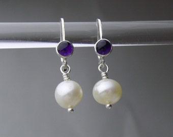 Pearl & Amethyst Sterling Silver leverback earrings
