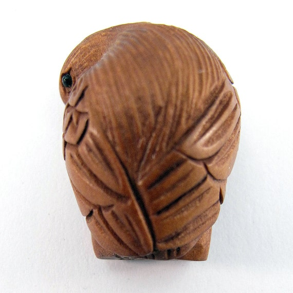 Eagle hand carved boxwood ojime bead from lifeisagiftshop