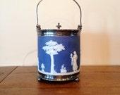Vintage Wedgwood Blue Jasperware ice bucket