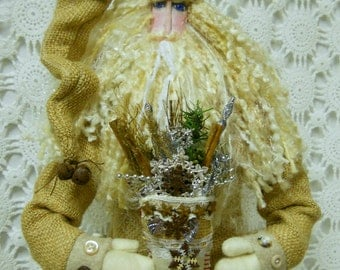 Ready to SHIP-Burlap Primitive Santa Doll..Loaded with detail plus Extras...Original Design Hand Made for You